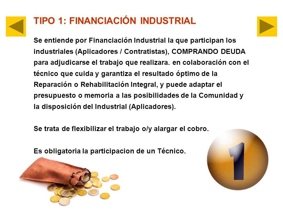 TIPO 1: FINANCIACIÓN INDUSTRIAL Se entiende por Financiación Industrial la que participan los industriales (Aplicadores / Contratistas), COMPRANDO DEUDA para adjudicarse el trabajo que realizara.
