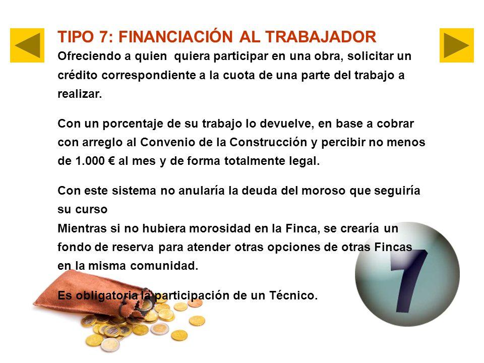 TIPO 7: FINANCIACIÓN AL TRABAJADOR Ofreciendo a quien quiera participar en una obra, solicitar un crédito correspondiente a la cuota de una parte del trabajo a realizar.