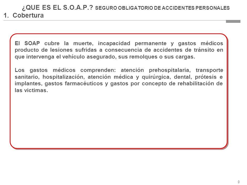 0 ¿QUE ES EL S.O.A.P..SEGURO OBLIGATORIO DE ACCIDENTES PERSONALES 1.