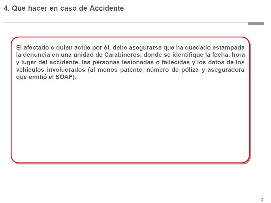 3 4. Que hacer en caso de Accidente El afectado o quien actúe por él, debe asegurarse que ha quedado estampada la denuncia en una unidad de Carabinero