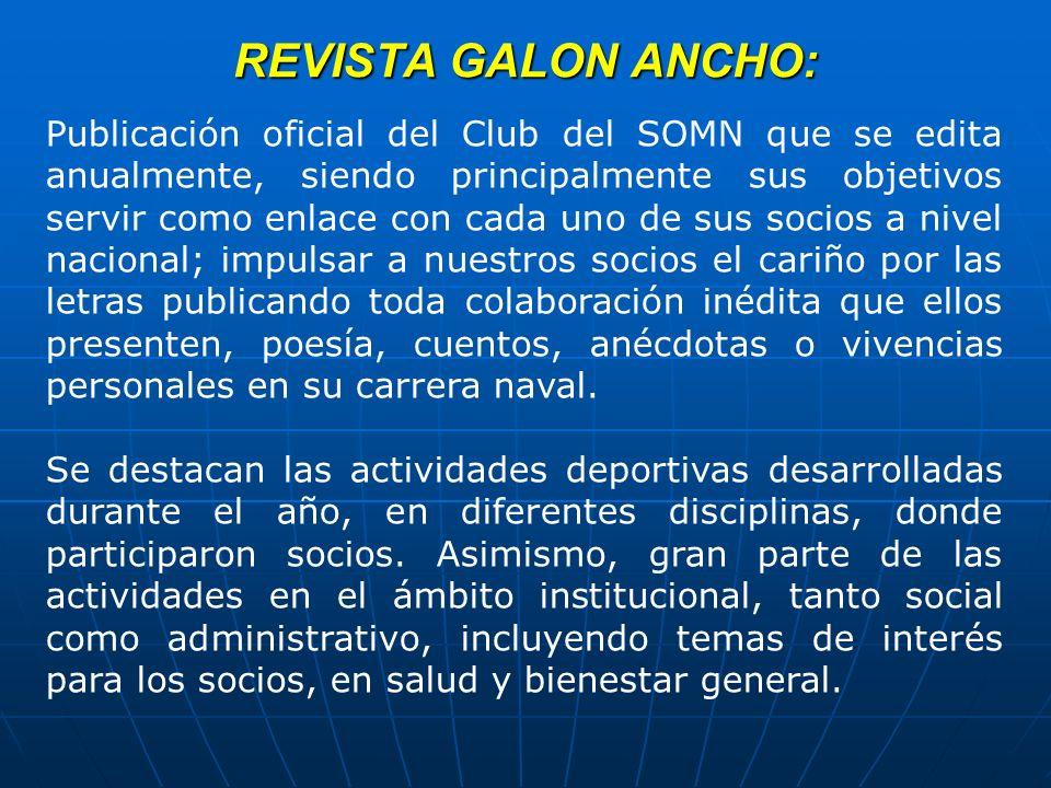 REVISTA GALON ANCHO: Publicación oficial del Club del SOMN que se edita anualmente, siendo principalmente sus objetivos servir como enlace con cada un