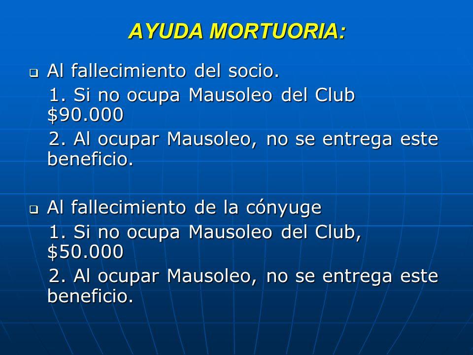 AYUDA MORTUORIA: Al fallecimiento del socio. Al fallecimiento del socio. 1. Si no ocupa Mausoleo del Club $90.000 1. Si no ocupa Mausoleo del Club $90