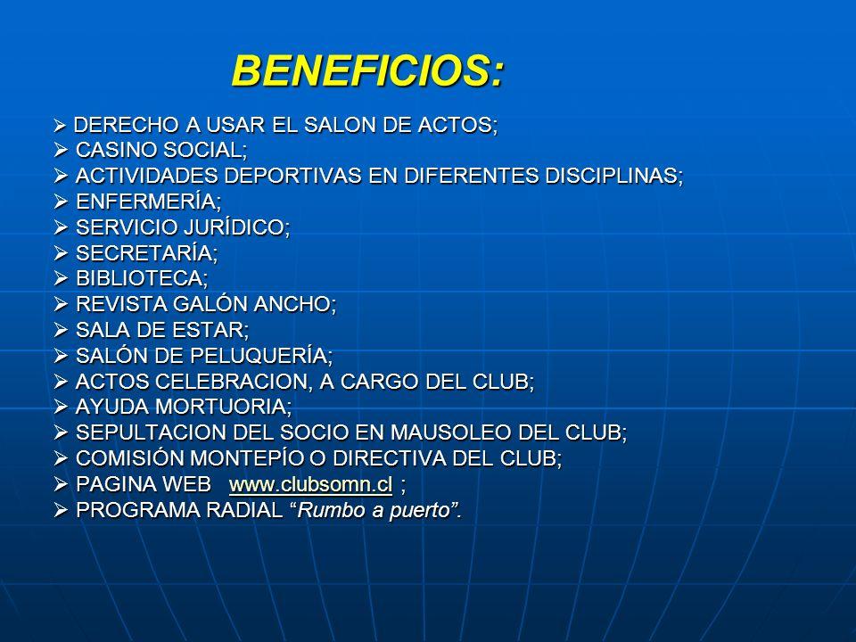 BENEFICIOS: DERECHO A USAR EL SALON DE ACTOS; DERECHO A USAR EL SALON DE ACTOS; CASINO SOCIAL; CASINO SOCIAL; ACTIVIDADES DEPORTIVAS EN DIFERENTES DIS