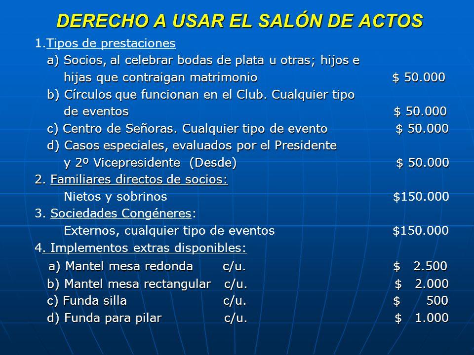 SEPULTACION DEL SOCIO Y/O CONYUGE EN MAUSOLEO DEL CLUB: La sepultación es por un período de 12 años.
