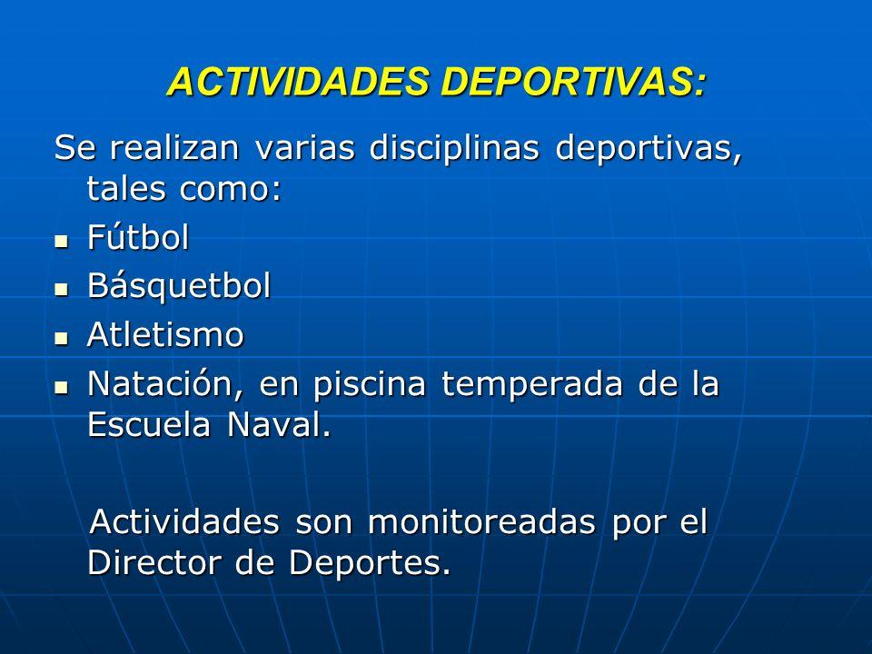 ACTIVIDADES DEPORTIVAS: Se realizan varias disciplinas deportivas, tales como: Fútbol Fútbol Básquetbol Básquetbol Atletismo Atletismo Natación, en pi