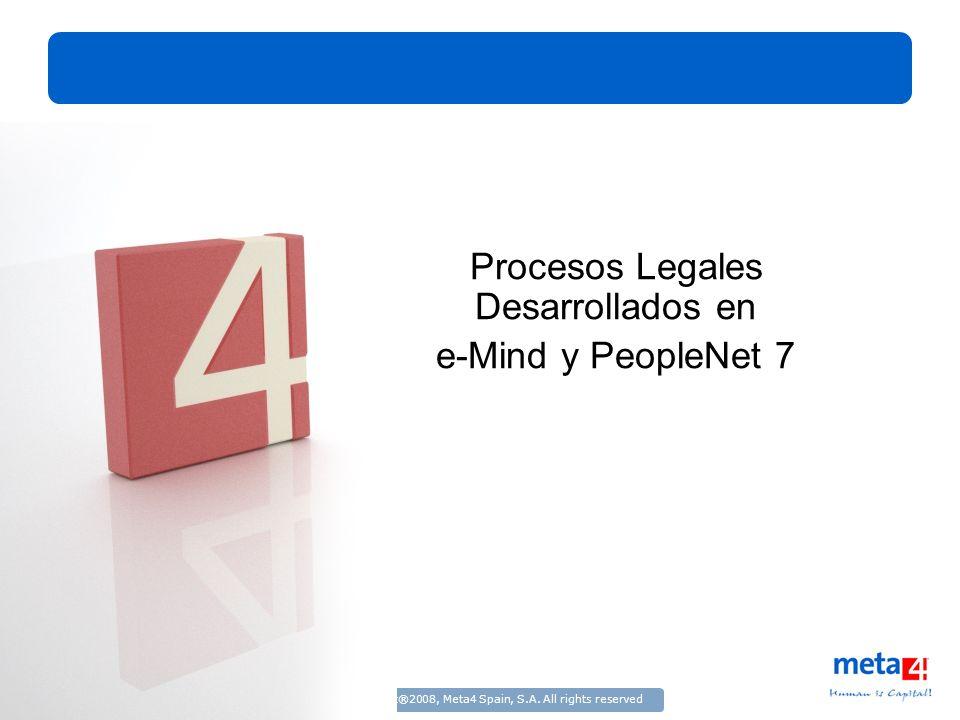 13/3/2008Copyright®2008, Meta4 Spain, S.A. All rights reserved Procesos Legales Desarrollados en e-Mind y PeopleNet 7 Título
