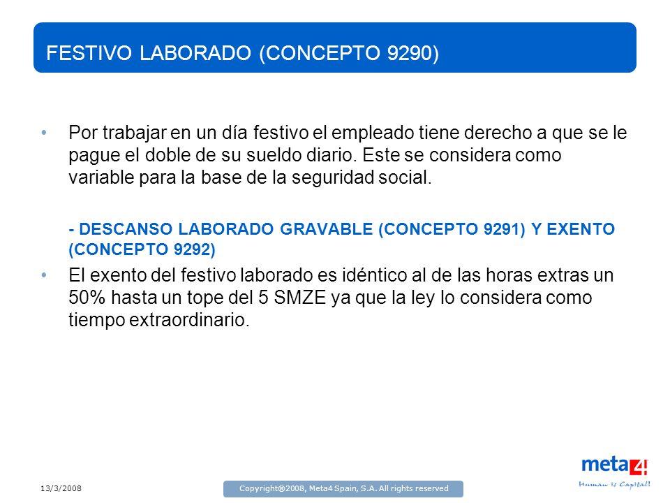 13/3/2008Copyright®2008, Meta4 Spain, S.A. All rights reserved FESTIVO LABORADO (CONCEPTO 9290) Por trabajar en un día festivo el empleado tiene derec