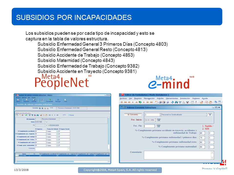 13/3/2008Copyright®2008, Meta4 Spain, S.A. All rights reserved SUBSIDIOS POR INCAPACIDADES Los subsidios pueden se por cada tipo de incapacidad y esto