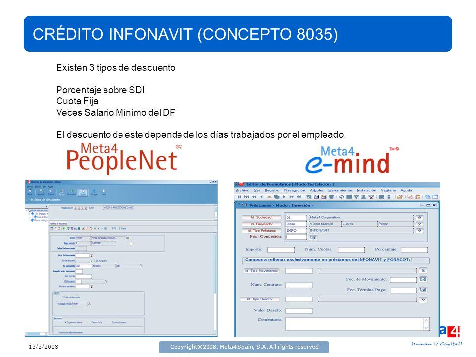 13/3/2008Copyright®2008, Meta4 Spain, S.A. All rights reserved CRÉDITO INFONAVIT (CONCEPTO 8035) Existen 3 tipos de descuento Porcentaje sobre SDI Cuo