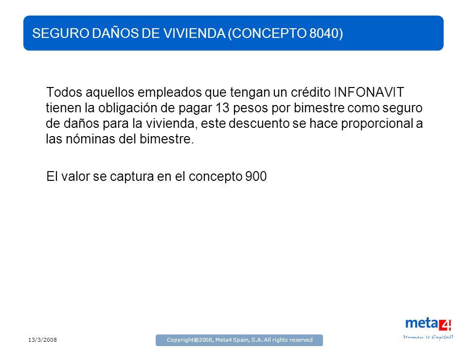 13/3/2008Copyright®2008, Meta4 Spain, S.A. All rights reserved SEGURO DAÑOS DE VIVIENDA (CONCEPTO 8040) Todos aquellos empleados que tengan un crédito