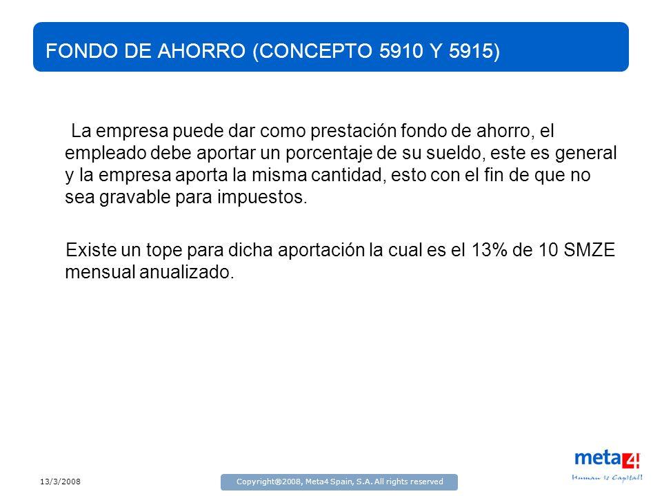 13/3/2008Copyright®2008, Meta4 Spain, S.A. All rights reserved FONDO DE AHORRO (CONCEPTO 5910 Y 5915) La empresa puede dar como prestación fondo de ah