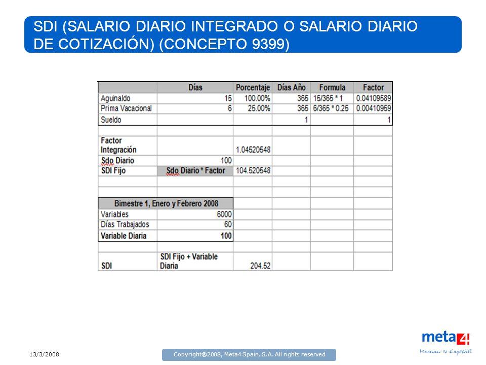 13/3/2008Copyright®2008, Meta4 Spain, S.A. All rights reserved SDI (SALARIO DIARIO INTEGRADO O SALARIO DIARIO DE COTIZACIÓN) (CONCEPTO 9399)