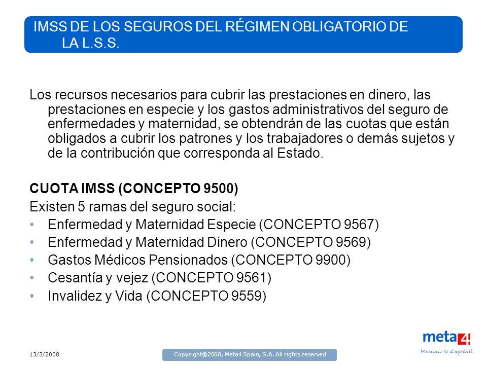 13/3/2008Copyright®2008, Meta4 Spain, S.A. All rights reserved IMSS DE LOS SEGUROS DEL RÉGIMEN OBLIGATORIO DE LA L.S.S. Los recursos necesarios para c