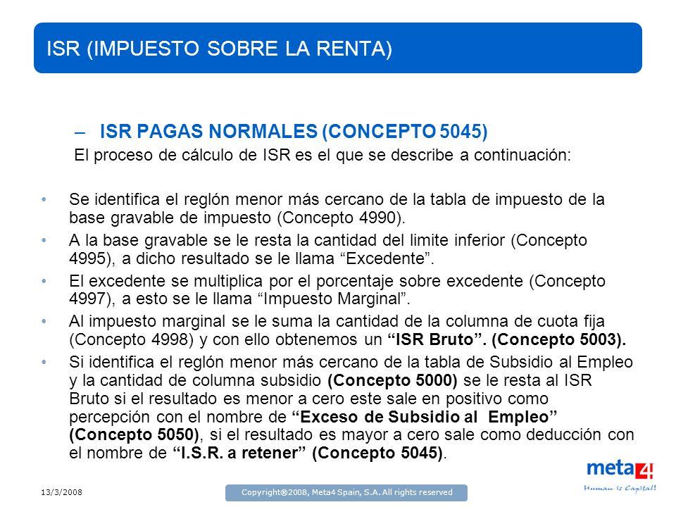 13/3/2008Copyright®2008, Meta4 Spain, S.A. All rights reserved ISR (IMPUESTO SOBRE LA RENTA) –ISR PAGAS NORMALES (CONCEPTO 5045) El proceso de cálculo