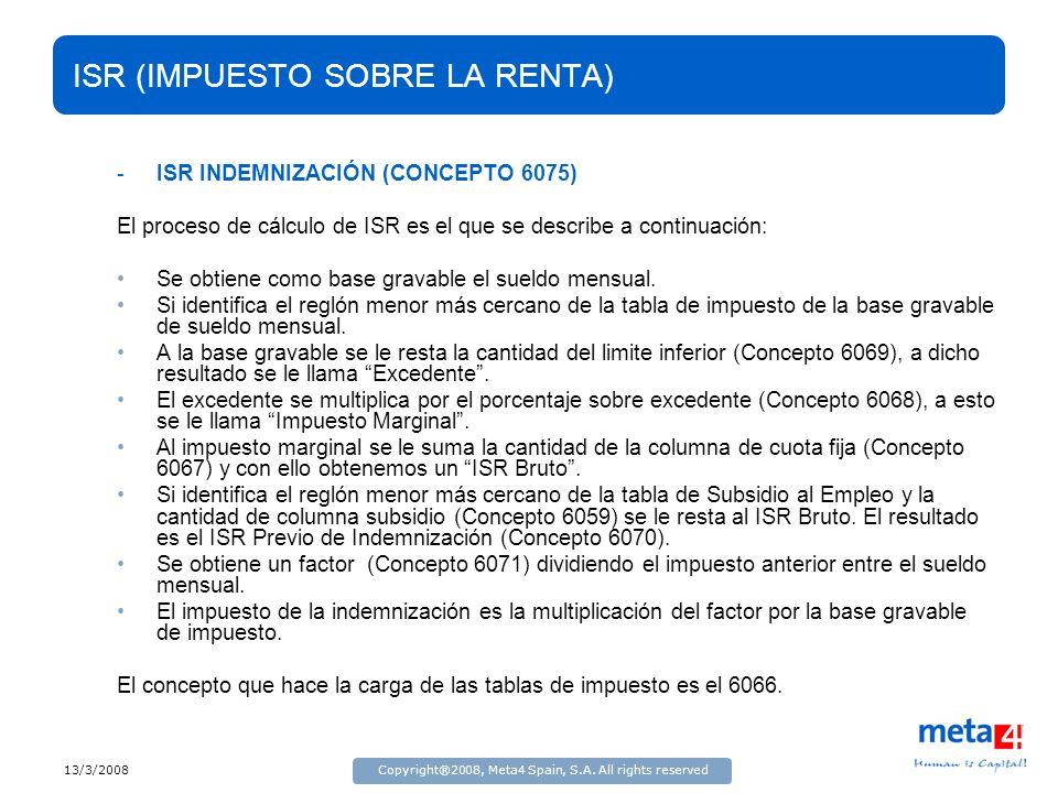 13/3/2008Copyright®2008, Meta4 Spain, S.A. All rights reserved ISR (IMPUESTO SOBRE LA RENTA) -ISR INDEMNIZACIÓN (CONCEPTO 6075) El proceso de cálculo