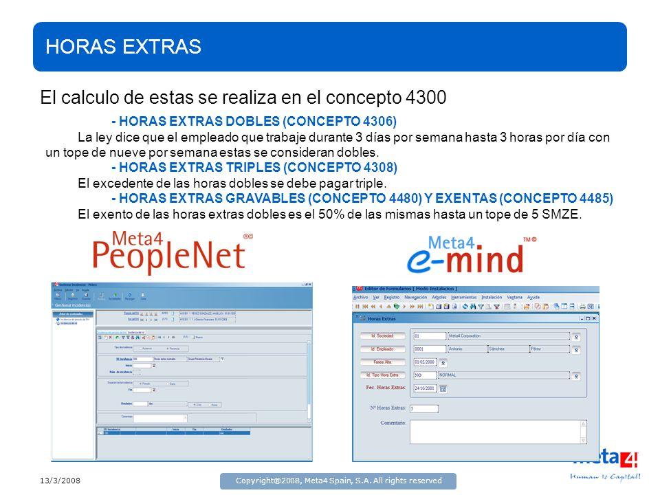 13/3/2008Copyright®2008, Meta4 Spain, S.A. All rights reserved HORAS EXTRAS El calculo de estas se realiza en el concepto 4300 - HORAS EXTRAS DOBLES (