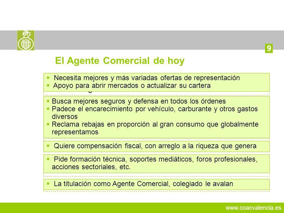 www.coacvalencia.es 15 9 El Agente Comercial de hoy Está más inseguro. Contra la presión competitiva y el desanimo generalizado Está más desprotegido