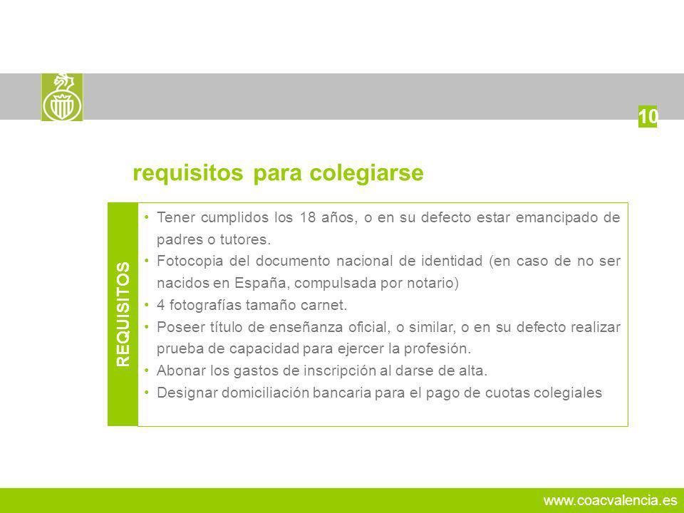 www.coacvalencia.es Tener cumplidos los 18 años, o en su defecto estar emancipado de padres o tutores. Fotocopia del documento nacional de identidad (