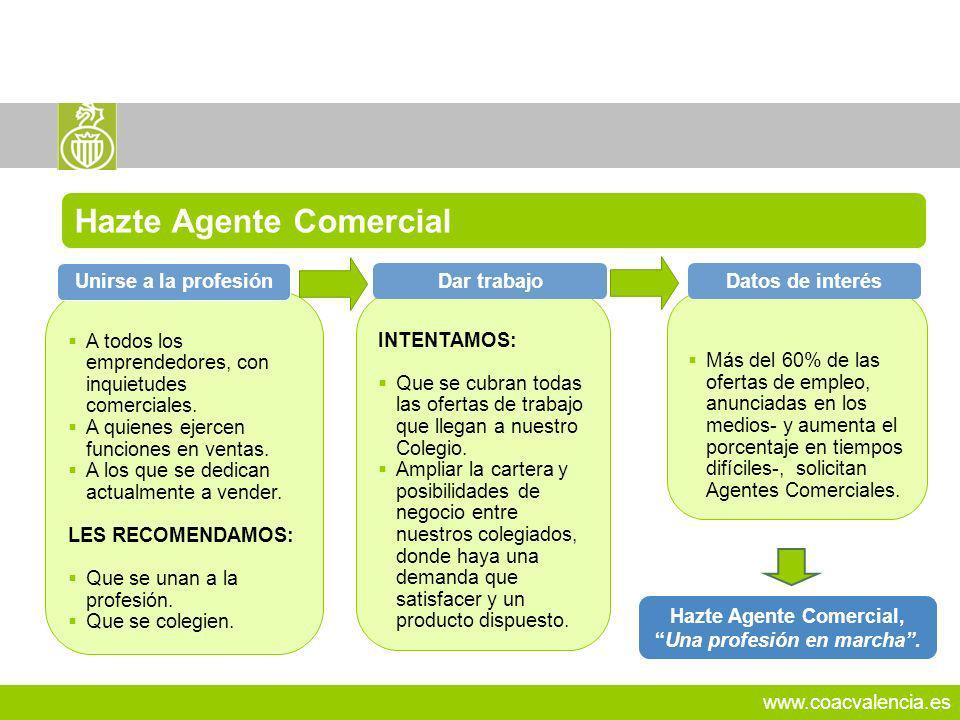 www.coacvalencia.es Hazte Agente Comercial, Una profesión en marcha. 22 A todos los emprendedores, con inquietudes comerciales. A quienes ejercen func