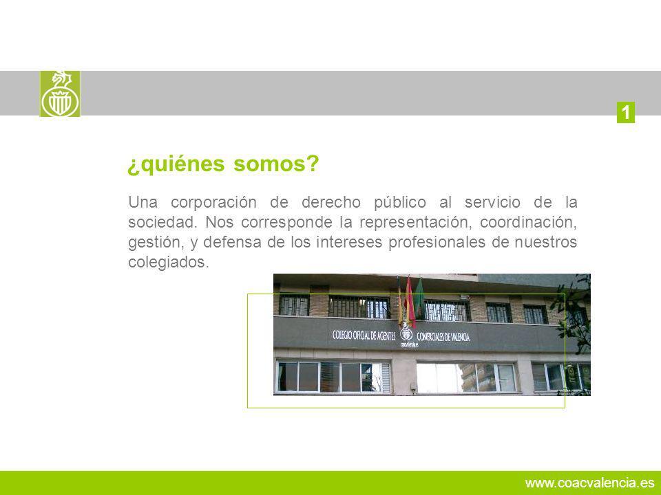 www.coacvalencia.es Una corporación de derecho público al servicio de la sociedad. Nos corresponde la representación, coordinación, gestión, y defensa