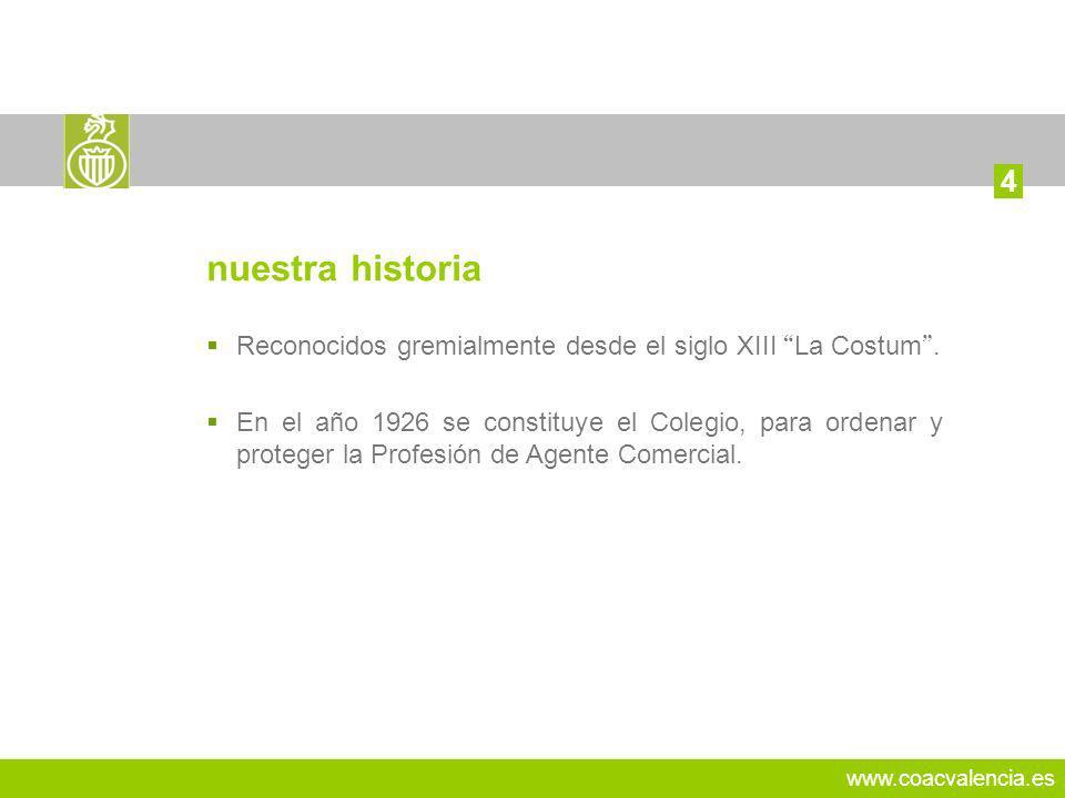 www.coacvalencia.es Reconocidos gremialmente desde el siglo XIII La Costum.