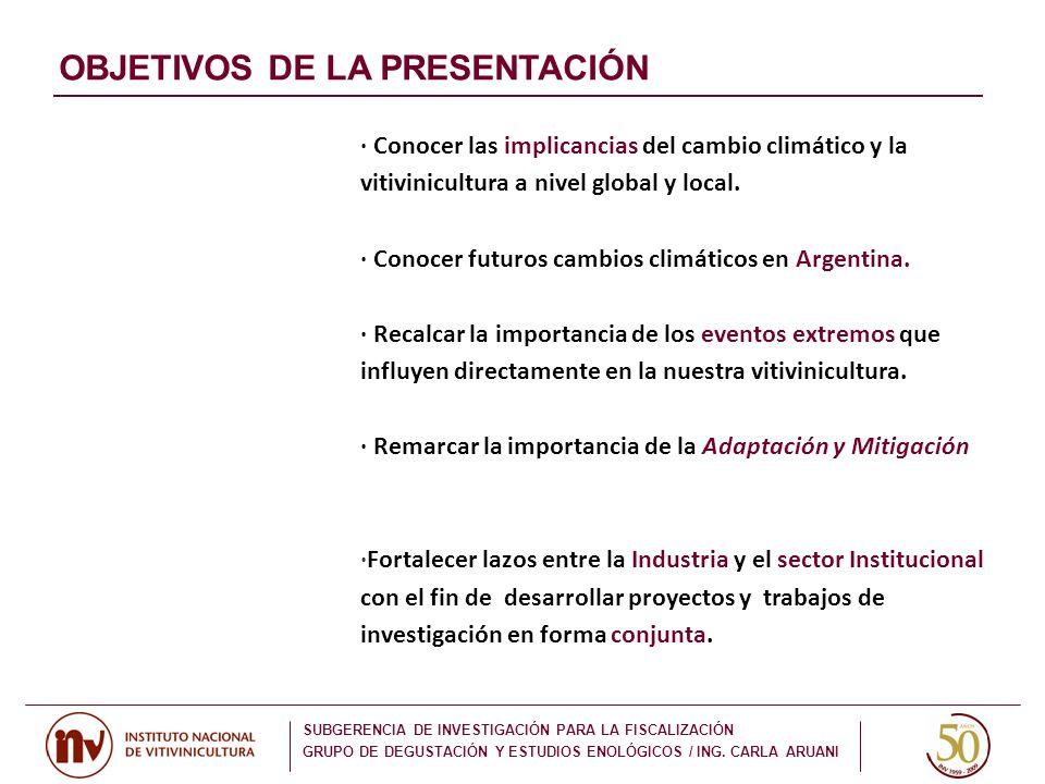 CAMBIOS EN LA PRECIPITACIÓN TOTAL (%) AMÉRICA DEL SUR SUBGERENCIA DE INVESTIGACIÓN PARA LA FISCALIZACIÓN GRUPO DE DEGUSTACIÓN Y ESTUDIOS ENOLÓGICOS / ING.