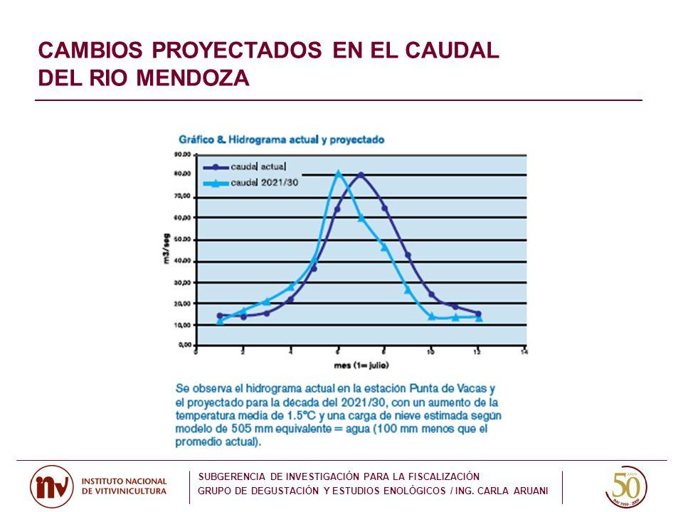CAMBIOS PROYECTADOS EN EL CAUDAL DEL RIO MENDOZA SUBGERENCIA DE INVESTIGACIÓN PARA LA FISCALIZACIÓN GRUPO DE DEGUSTACIÓN Y ESTUDIOS ENOLÓGICOS / ING.