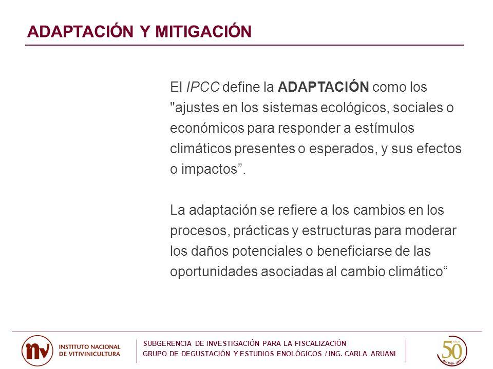 ADAPTACIÓN Y MITIGACIÓN El IPCC define la ADAPTACIÓN como los