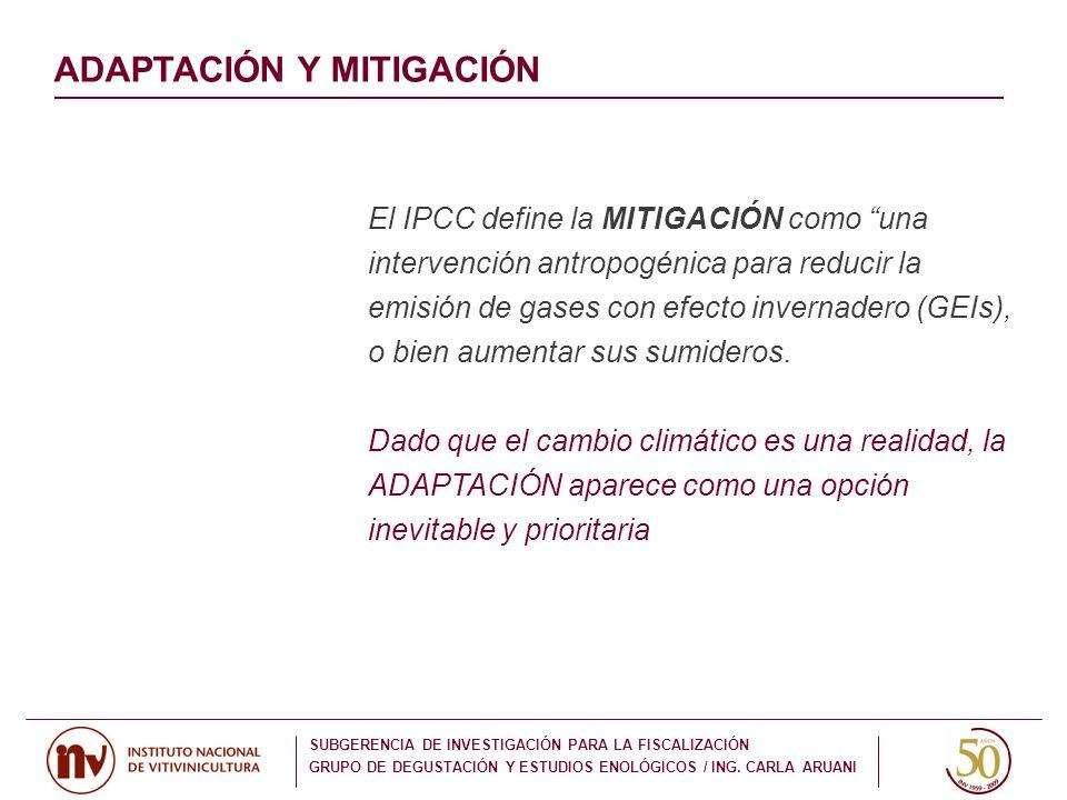 El IPCC define la MITIGACIÓN como una intervención antropogénica para reducir la emisión de gases con efecto invernadero (GEIs), o bien aumentar sus s