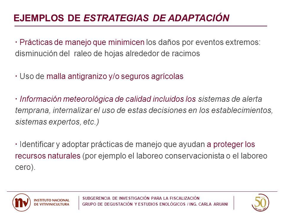 · Prácticas de manejo que minimicen los daños por eventos extremos: disminución del raleo de hojas alrededor de racimos · Uso de malla antigranizo y/o