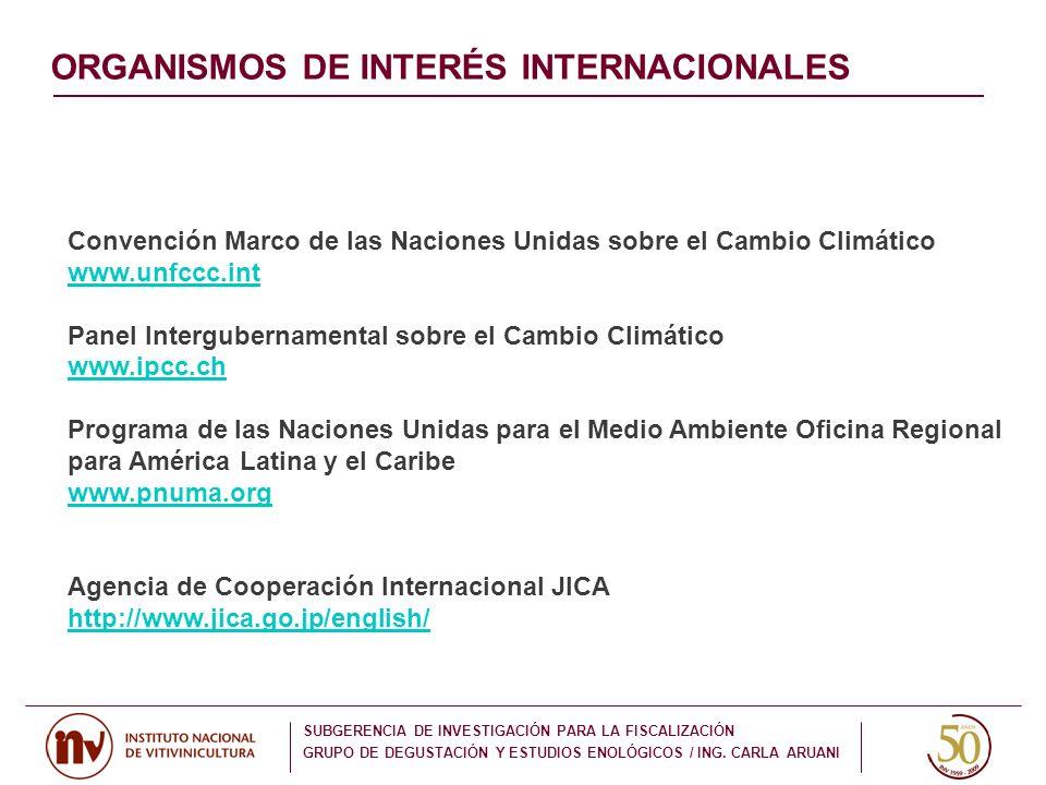 ORGANISMOS DE INTERÉS INTERNACIONALES Convención Marco de las Naciones Unidas sobre el Cambio Climático www.unfccc.int Panel Intergubernamental sobre