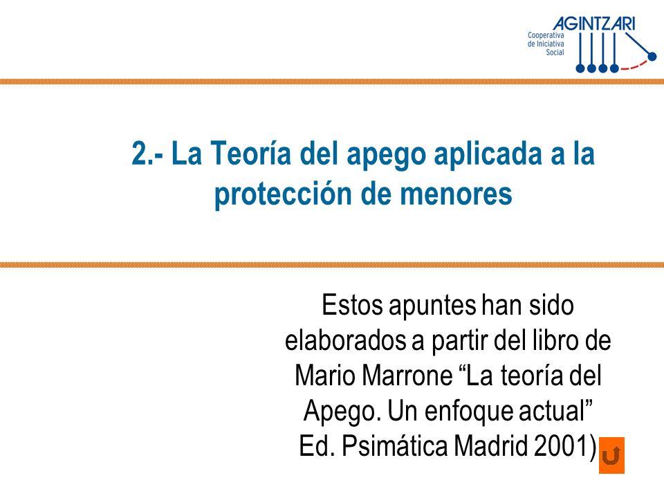 2.- La Teoría del apego aplicada a la protección de menores Estos apuntes han sido elaborados a partir del libro de Mario Marrone La teoría del Apego.