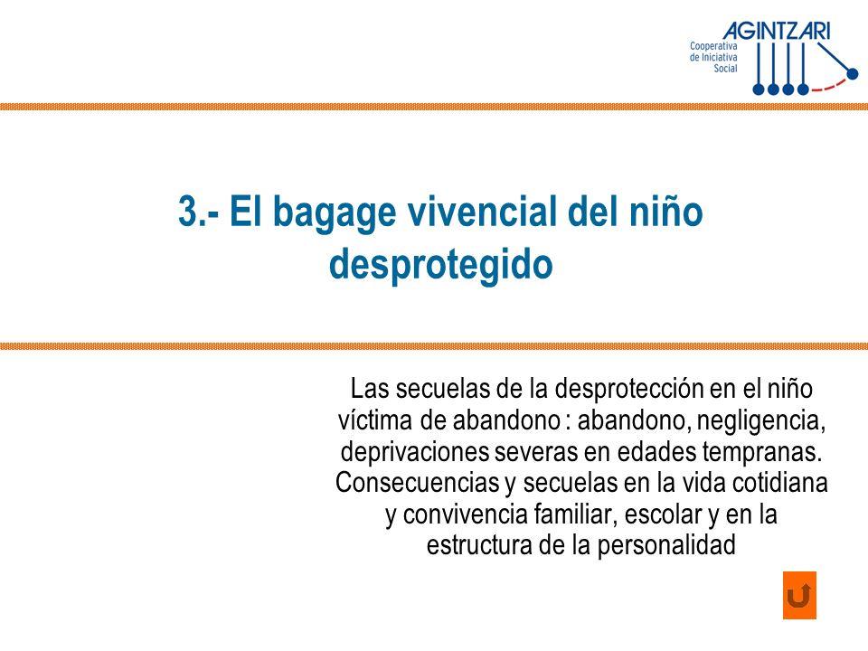 3.- El bagage vivencial del niño desprotegido Las secuelas de la desprotección en el niño víctima de abandono : abandono, negligencia, deprivaciones s