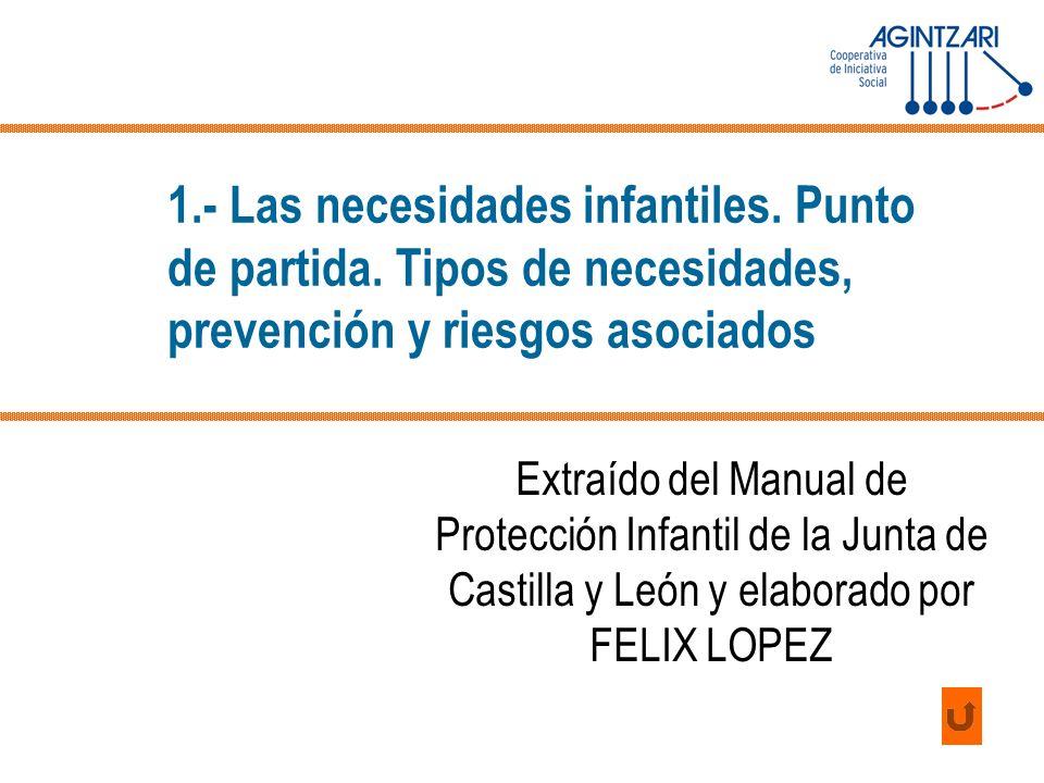 1.- Las necesidades infantiles. Punto de partida. Tipos de necesidades, prevención y riesgos asociados Extraído del Manual de Protección Infantil de l