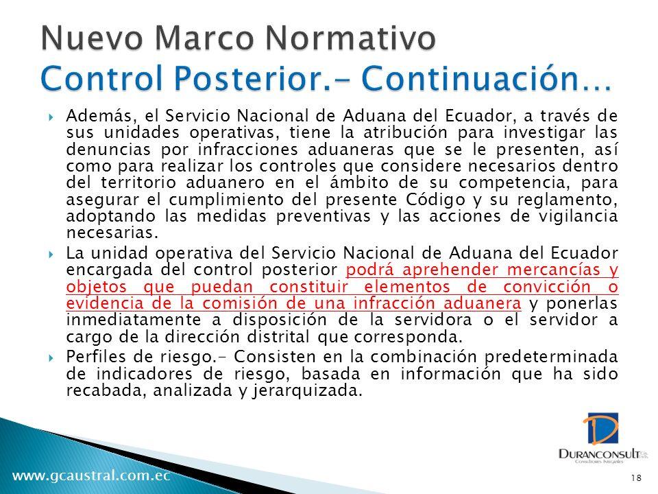 www.gcaustral.com.ec Además, el Servicio Nacional de Aduana del Ecuador, a través de sus unidades operativas, tiene la atribución para investigar las