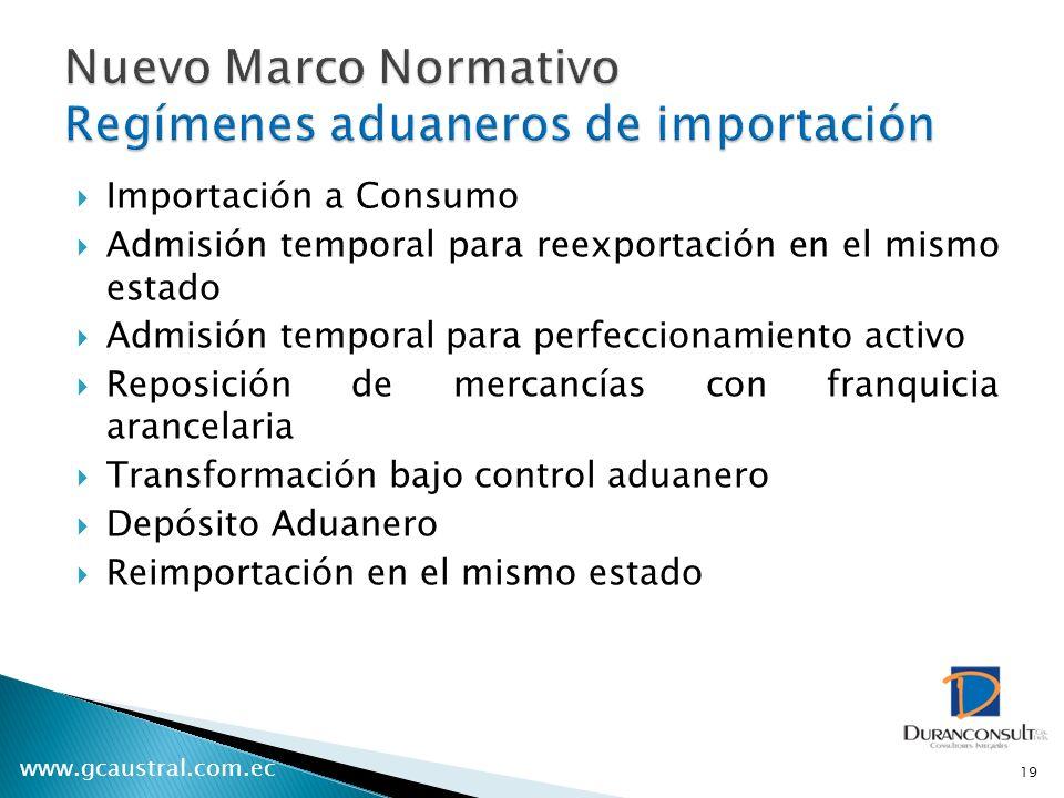 www.gcaustral.com.ec Importación a Consumo Admisión temporal para reexportación en el mismo estado Admisión temporal para perfeccionamiento activo Rep