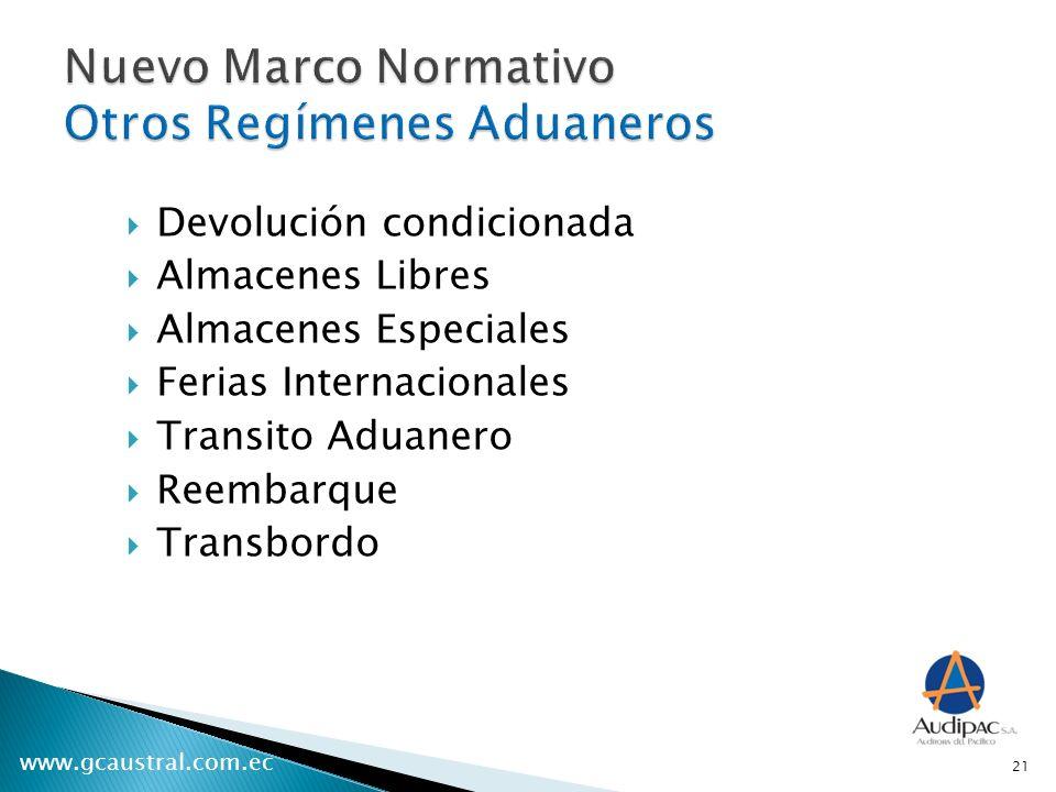 www.gcaustral.com.ec Devolución condicionada Almacenes Libres Almacenes Especiales Ferias Internacionales Transito Aduanero Reembarque Transbordo 21