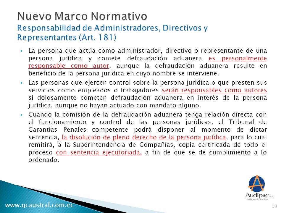 www.gcaustral.com.ec La persona que actúa como administrador, directivo o representante de una persona jurídica y comete defraudación aduanera es pers