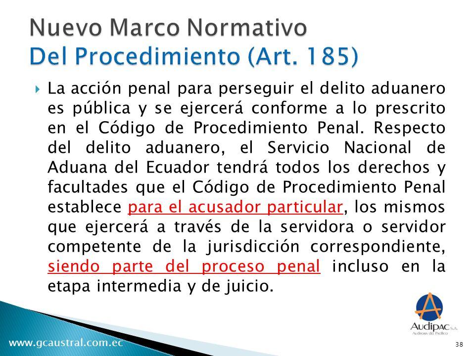 www.gcaustral.com.ec La acción penal para perseguir el delito aduanero es pública y se ejercerá conforme a lo prescrito en el Código de Procedimiento Penal.