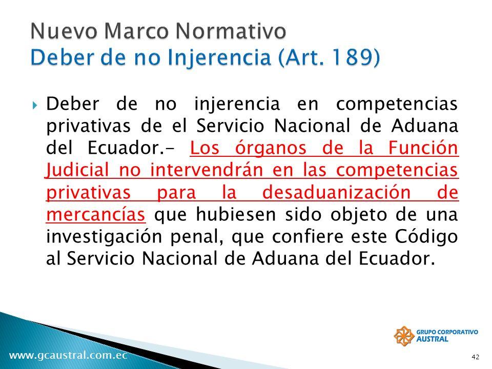 www.gcaustral.com.ec Deber de no injerencia en competencias privativas de el Servicio Nacional de Aduana del Ecuador.- Los órganos de la Función Judic