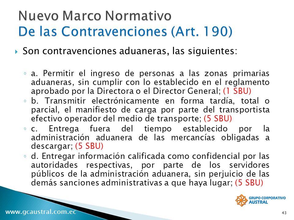 www.gcaustral.com.ec Son contravenciones aduaneras, las siguientes: a. Permitir el ingreso de personas a las zonas primarias aduaneras, sin cumplir co