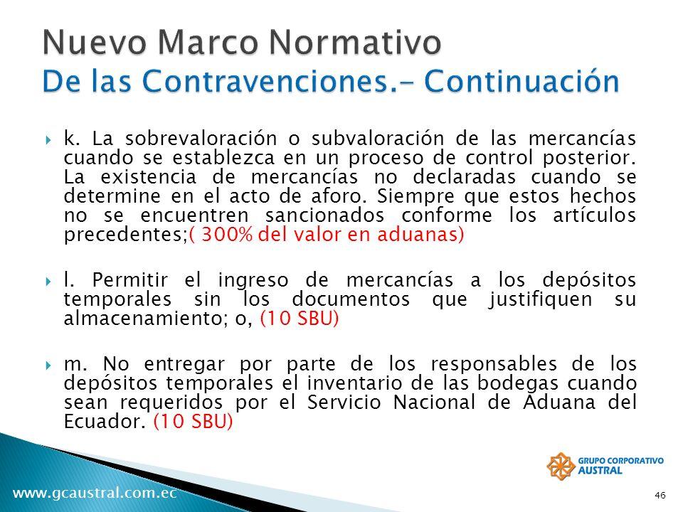 www.gcaustral.com.ec k. La sobrevaloración o subvaloración de las mercancías cuando se establezca en un proceso de control posterior. La existencia de