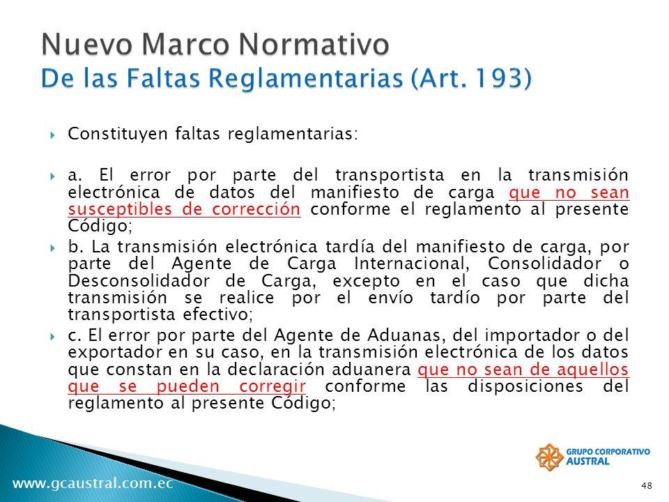 www.gcaustral.com.ec Constituyen faltas reglamentarias: a. El error por parte del transportista en la transmisión electrónica de datos del manifiesto