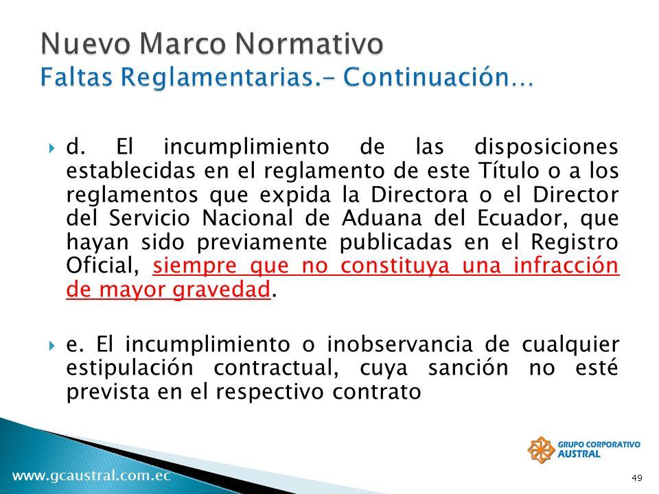 www.gcaustral.com.ec d. El incumplimiento de las disposiciones establecidas en el reglamento de este Título o a los reglamentos que expida la Director