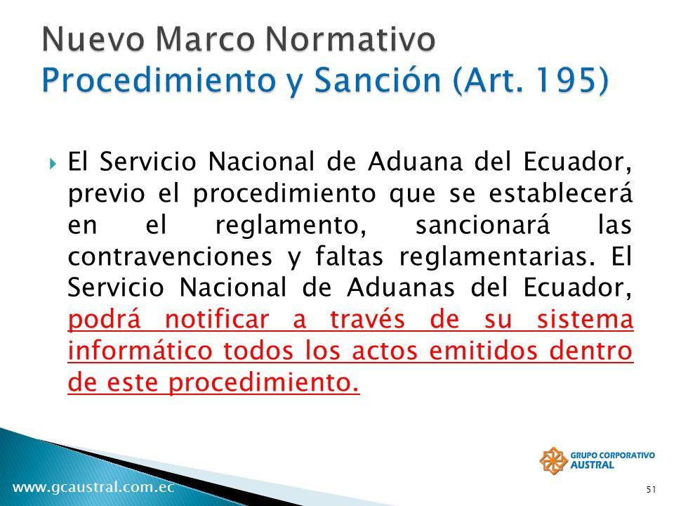 www.gcaustral.com.ec El Servicio Nacional de Aduana del Ecuador, previo el procedimiento que se establecerá en el reglamento, sancionará las contravenciones y faltas reglamentarias.