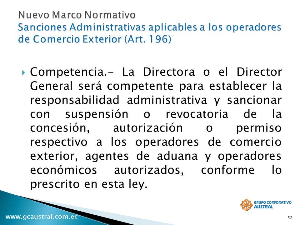 www.gcaustral.com.ec Competencia.- La Directora o el Director General será competente para establecer la responsabilidad administrativa y sancionar co