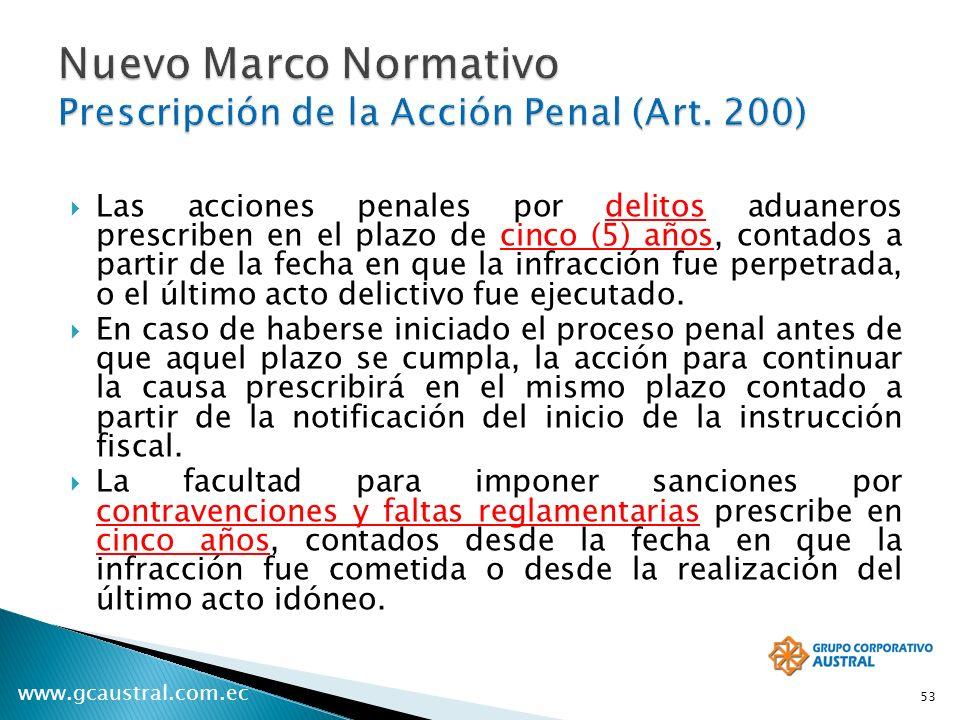 www.gcaustral.com.ec Las acciones penales por delitos aduaneros prescriben en el plazo de cinco (5) años, contados a partir de la fecha en que la infr