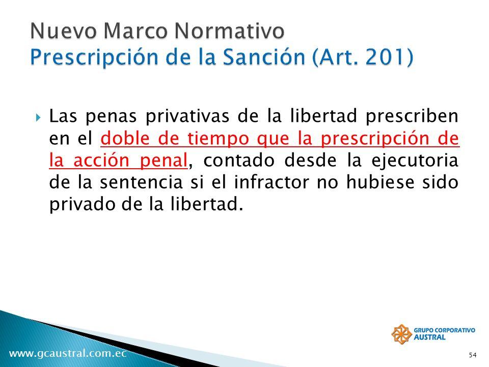 www.gcaustral.com.ec Las penas privativas de la libertad prescriben en el doble de tiempo que la prescripción de la acción penal, contado desde la eje
