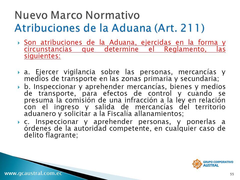 www.gcaustral.com.ec Son atribuciones de la Aduana, ejercidas en la forma y circunstancias que determine el Reglamento, las siguientes: a. Ejercer vig