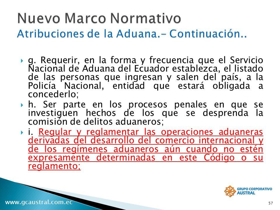 www.gcaustral.com.ec g. Requerir, en la forma y frecuencia que el Servicio Nacional de Aduana del Ecuador establezca, el listado de las personas que i